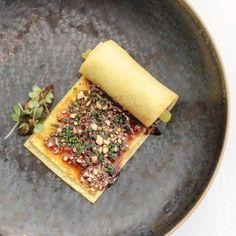 Librije's Zusje Amsterdam - savoury egg crêpe, wrapped around rolls of crispy #tofu skin topped with shitake mushroom and 5 spices.