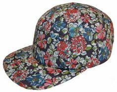 40cc75c4f2a 5 Panel Camp Cap Camper Hat Floral Pattern Print Blue Strapback