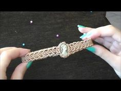 tutorial SUBTITULOS EN ESPAÑOL DIY Macrame chocker with stone/Mακραμέ κολιέ τσόκερ με πέτρα/Como hacer ...