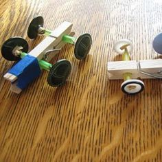 Clothespin Button Racers I know that the kids would love doing this, and use markers to color/decorate