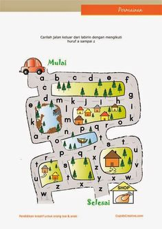 belajar huruf PAUD (anak TK/balita), labirin (maze) belajar membaca huruf