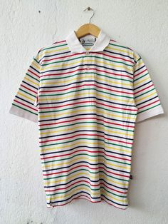 SERGIO TACHINI Golf Lab Colourfull Full Stripe Reggae Like Polo Shirt Medium Size Tee Swag Funky Hip Hop Streetwear Size M VS447 by fiestorevintage on Etsy