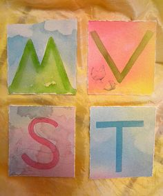 alphabet cards- watercolors, tied into the story for each letter. Love!