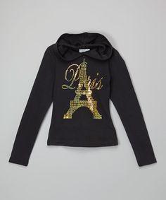 Black & Gold 'Paris' Hoodie - Kids & Tween #zulily #zulilyfinds