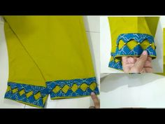 DIY NEW designer trouser and sleeves design 2020 cutting and stitching Churidhar Neck Designs, Dress Neck Designs, Sleeve Designs, Blouse Designs, Hand Designs, Kurti Sleeves Design, Kurta Neck Design, Sleeves Designs For Dresses, Kurta Designs Women