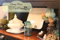 tea room vignettes | changed around some of the spring vignettes in the dining room so I ...