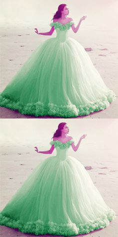 d8146a0dc57 Mint Green Tulle Ball Gowns Flowers Quinceanera Dresses For Sweet 16 Wedding  Dresses With Flowers