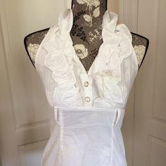 Heart Soul Women's Ruffle Halter Blouse. Brand new white ruffle halter blouse. 97% Cotton, 3% spandex. HeartSoul Tops Blouses