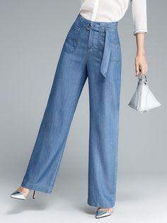 Casual Solid High Waist Pockets Denim Pants For Women Source by de moda mujer madura Denim Fashion, Fashion Pants, Look Fashion, Hijab Fashion, Fashion Dresses, Womens Fashion, Pants For Women, Clothes For Women, Formal Trousers Women