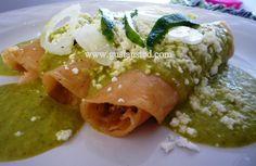 ¿Gusta Usted? : Enchiladas verdes. Salsa de cacahuate.- Receta