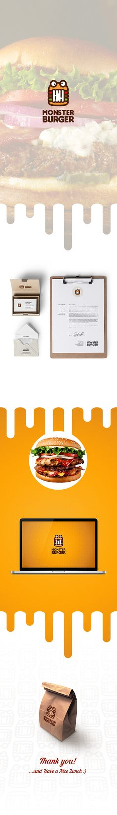 """A brand identity package for """"Monster Burger"""" I would eat here, just for it's delicious design!"""