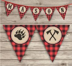 A personal favorite from my Etsy shop https://www.etsy.com/ca/listing/262082584/lumberjack-buffalo-plaid-banner-rustic
