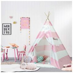 Teepee Tent for Children with Carry Case, Toys for Girls/Boys Indoor & Outdoor Playing - Set of 2 Packs, Pink Kids Tents, Teepee Kids, Teepees, Teepee Nursery, Canvas Teepee, Cozy Place, Kids Store, Toys For Girls, Baby Girls