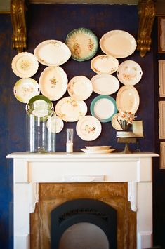 Plates overlapped above mantel