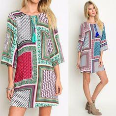 Umgee Boho Bandana Square Print Bell Sleeve Tassel Tie Shift Dress Tunic Top S-L #Umgee #Shift #Casual
