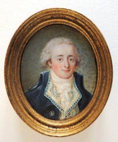 LAURENT, Man with embroidered vest, 1793 miniature portrait