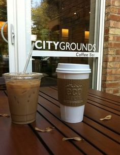 Nice eco-sleeve! CITY GROUNDS (507 W. Dickens, Lincoln Park)  This European style coffee bar serves artisan coffee from Metropolis, plus makes every effort to source local produced pastries, cakes and breads.  http://citygroundschicago.com/  Image from www.yelp.com.