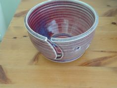 Pottery Yarn Bowl in Raspberry Red and by NancyBloklandPottery, $40.00