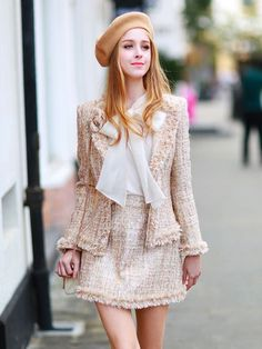 Tweed fabric looks Preppy Outfits, Mode Outfits, Girly Outfits, Preppy Style, Classy Outfits, Stylish Outfits, Look Fashion, Korean Fashion, Autumn Fashion
