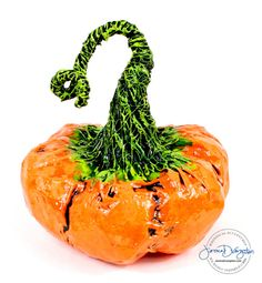 Pumpkin decor medium orange paper mache sculpture for Fall, Halloween and Thanksgiving