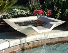 Swimming Pool Fountains Reflect Your Dream : Water Fountain For Swimming Pool. Water fountain for swimming pool. water feature for backyard Backyard Pool Designs, Small Backyard Pools, Pool Landscaping, Swimming Pool Fountains, Garden Fountains, Swimming Pools, Outdoor Fountains, Garden Pond, Pool Water Features
