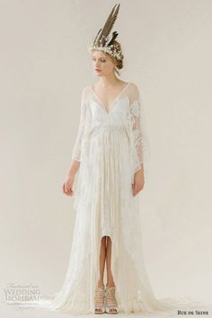 rue de seine #wedding dress 2015 #bridal v neckline sheer three 3 quarter loose sheer sleeves high low hemline full skirt cleo #highlowdress #weddingdress #weddings