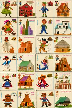 Domino houses, an educational game by Fernand Nathan (via maptitefabrique) Vintage Children's Books, Vintage Cards, Vintage Toys, Fernand Nathan, Cultures Du Monde, Thinking Day, Educational Games, Children's Book Illustration, In Kindergarten