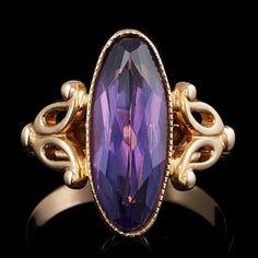 14k Rose Gold Ct Amethyst Ring.