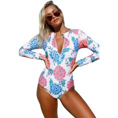 Pink Blue Peony Long Sleeve Zip Front One Piece Swimsuit ($26) ❤ liked on Polyvore featuring swimwear, one-piece swimsuits, sexy swim suits, pink one-piece bathing suits, blue one piece swimsuit, v neck one piece swimsuit and sexy bikini