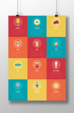 2014 calendar designs - Created by Philippenes based collective Keso Design and creative Jose Ramos, we've fallen head over heels for this delicious calendar design. Picking a sweet treat for each month, the snacks are then brought to life with bold colour and illustration.