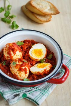 Hard Boiled Eggs in Spicy Tomato Sauce
