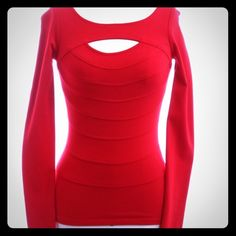 """Cache Red Hot Cutout Top ♨️ Cache Long Sleeve Cutout top. New Without Tags. Thick and slimming. Shapes, Lifts and sucks you in for the perfect Cache silhouette! Red hot color. Bust 26"""" Full Length 25"""" Sleeve Length 27"""". Size Small. May need convincing to let go!  Steph Cache Tops Tees - Long Sleeve"""