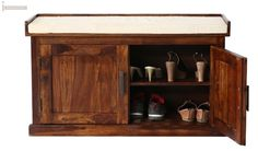 Buy Jenny Shoe Cabinet With Seat (Teak Finish) Online in India - Wooden Street Wood Shoe Storage, Wood Shoe Rack, Bench With Shoe Storage, Shoe Racks, Srinagar, Jenny Shoes, Shoe Rack With Seat, Best Shoe Rack, Wooden Street