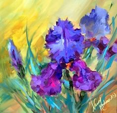 Purple Star Irises and How to Make Your Paint Last - Flower Paintings by Nancy Medina, painting by artist Nancy Medina