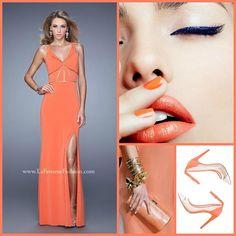 La Femme 21142 ~ prom 2016 ~ long prom dress ~ open back ~ homecoming ~ dress with cut outs ~ makeup inspo ~ orange dress ~ papaya dress ~ jersey dress ~ cat eye ~ fitted dress ~ coral dress ~