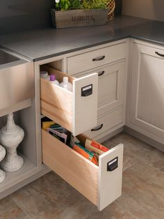 Narrow sink drawers by Narrow Cabinet Kitchen, Kitchen Cabinetry, Kitchen Cupboards, Kitchen Drawer Organization, Diy Kitchen Storage, Cupboard Storage, Narrow Cabinet Storage, Laundry Room Design, Kitchen Design