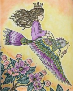 """""""The Flying Princess"""" Adult Coloring Dagdrommar by Hanna Karlzon"""