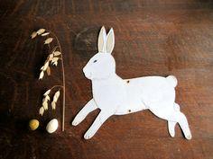 Vintage Folk Art Rabbit Sign, Rustic Primitive Easter Bunny.