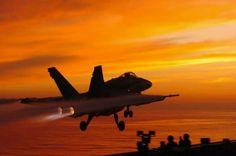Hornet flies off US Navy carrier