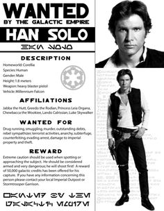 Han Solo Wanted Poster