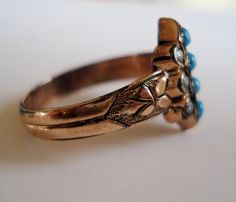 Antique Victorian Turquoise and Bead Ring $135 from VictorianSpiritRings on etsy