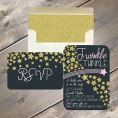 Twinkle Twinkle Little Star Invitation, baby shower package, gold stars and envelope liner, navy background with pink or blue accent colors by EvergreenandWillow Baby Girl Birthday, 1st Birthday Parties, Birthday Ideas, 2nd Birthday, Baby Shower Invitations, Birthday Invitations, Babyshower Invites, Invitations Kids, Baby Onesie Template