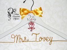 Beauty & the Beast Themed Wedding Hanger, Disney Princess Wedding, Personalized Bridal Hanger, Gift Wire by WhiteDiamondAffairs on Etsy
