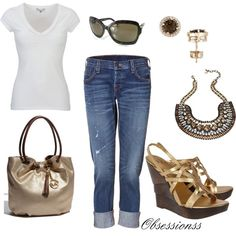 Cute way to dress up a white T