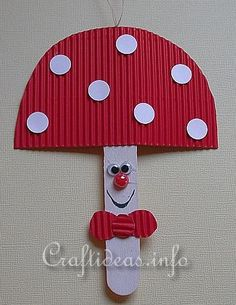 Craft Stick Mushroom - can use craft foam to make it more durable