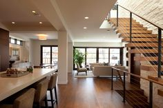 Contemporary Living Room Design Small House - Beautiful Homes & Designs Modern Staircase, Staircase Design, Floating Staircase, Modern Kitchen Design, Interior Design Kitchen, Interior Ideas, Home Decor Kitchen, Kitchen Living, Open Kitchen