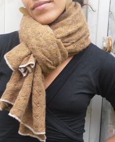 Embroidery Lace Scarf Brown Wool Scarf Shawl by FashionAndScarves