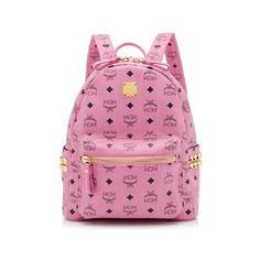 Pre-Owned MCM Visetos Studded Small Backpack ($475) ❤ liked on Polyvore featuring bags, backpacks, pink, mcm backpack, over the shoulder backpack, studded backpack, strap backpack and pink backpack