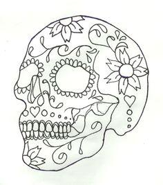 Zuckerschädel – My string art and ideas - Malvorlagen Mandala Sugar Skull Design, Sugar Skull Art, Sugar Skulls, Skull Stencil, Tattoo Stencils, Skull Coloring Pages, Coloring Book Pages, Colouring, Adult Coloring