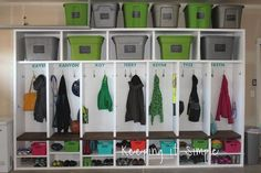 Need extra storage for all of your stuff? Then you need to build these garage mudroom lockers to organize all of your things! Need extra storage for all of your stuff? Then you need to build these garage mudroom lockers to organize all of your things! Garage Lockers, Diy Garage, Garage Workbench, Garage Entryway, Garage Kits, Garage Cabinets, Garage Plans, Garage Mudrooms, Wooden Lockers